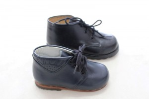 Boys first  walker navy & black leather